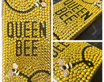 Bling Cell Phone Case - Queen Bee Bumblebee Black, Gold Rhinestone Crystal for iPhone 6/7/8 Plus, Samsung Galaxy s6/s7/s8/Note, Google Pixel