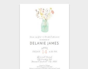 HALF OFF Bridal Shower Invite, Wildflower Bridal Shower Invitation, Digital Invitation, Printed Cards, Bridal Shower