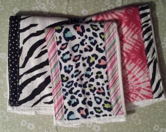 Burp cloth, animal print set of 3