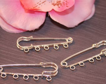 5 Silver 5 hole 5x1.5cm - SC13869 - pin brooches