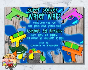 Printable Water Gun Party Invitation