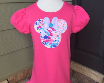 New Lilly Minnie!!!! Hot pink ruffled shirt in Pink Sunken Treasure