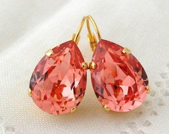 Peach drop earrings,Coral earring,dangle drop earring,Teardrop earrings,Bridal earring,Peach bridesmaid gift,Swarovski earring,peach wedding