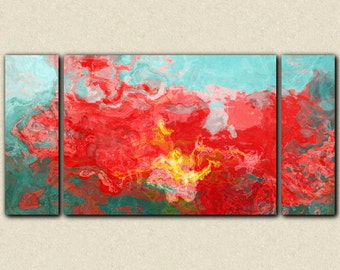 """Oversize abstract triptych stretched canvas print, 30x60 to 40x78, in red, blue and green, from abstract painting """"Bon Temps"""""""