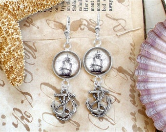 Pirate Ship and Anchor Earrings In Silver - Pirate Jewelry - Nautical Jewelry