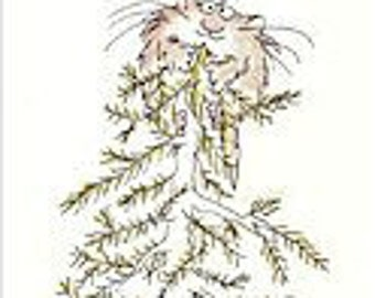 Sandra BoYnTon 1982 CHrisTmas TREE CaT - 2 Holiday Greeting Card s - EVER GReeN