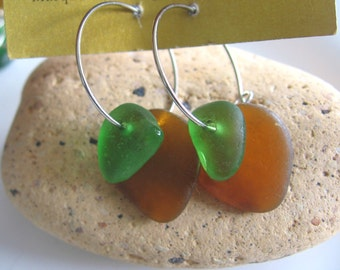 Amber and Vibrant Green Lake Superior Beach Glass Hoop Earrings Sterling