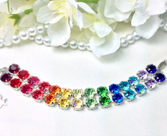 """Swarovski Crystal 8.5mm """"Double Rainbow"""" Bracelet - Two Rows of Beautiful Rainbow Colors - Designer Inspired - FREE SHIPPING"""