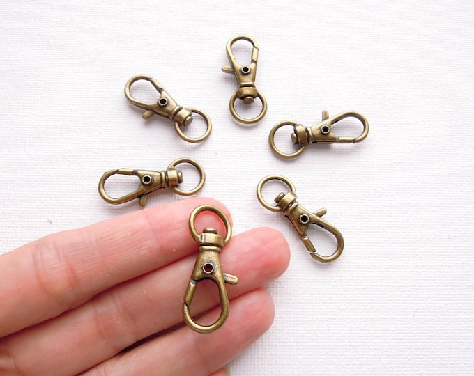 6 Brass lobster key fobs - Small bronze swivel clasps for bag charms, keyrings, badge holders, camera straps, luggage tags, lanyards