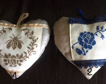 Linen hearts to hang embroidery hand