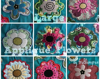 """LARGE WHIMSICAL APPLIQUE Flowers for embellishment of your textile projects, 10 different Machine Embroidery Designs for the 4 x 4"""" hoop,"""