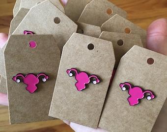 Enamel Uterus Pin, 1 inch enamel pin, feminist enamel pin, enamel lapel pin, feminist jewelry accessory, pink enamel pin