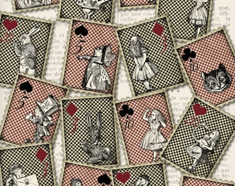 Alice in Wonderland Stamps postage letters crafting scrapbooking digital instant download printable collage sheet - VDMIAL1075