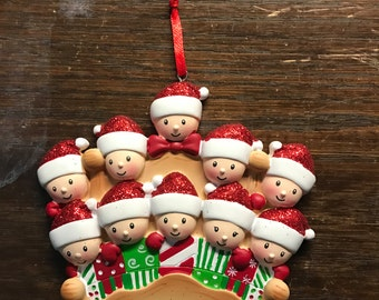 Personalized family of 10 Christmas ornament