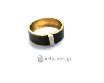 Geometric Bar Ring Recycled Sterling Silver & Black Bronze