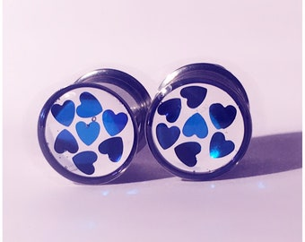 10mm Small blue heart and silver tunnel plugs!