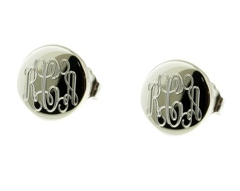 925 Sterling Silver Round Stud Post Monogram Personalized Earrings