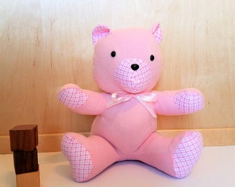 Pink Teddy bear - Flannel Teddy Bear - Small Teddy Bear - Handmade Teddy Bear - Baby Girl Teddy Bear - Stuffed Bear - Stuffed Teddy Bear