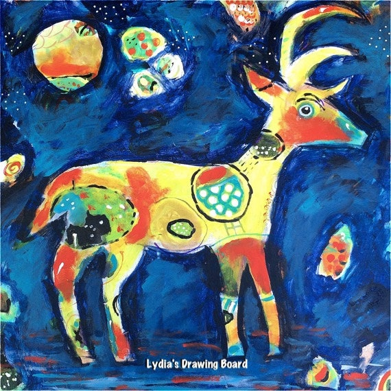 Deer, Deer Artwork, Deer Art, Deer Art Print, Primitive Decor, Spirit Animal, Colorful Art, Colorful Art Print, Colorful Artwork, Reindeer