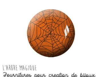 2 cabochons craft Halloween Spider Web glass 16 mm M1142