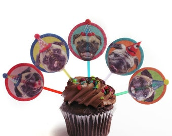 Pugs Dogs Birthday Cupcake Toppers - set of 6 - party decoration for Pug lovers