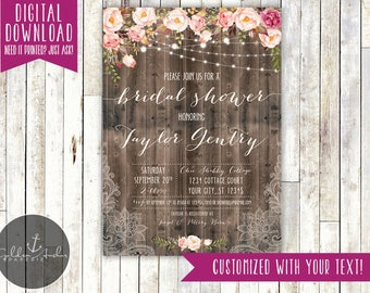 Rustic Floral & Lace String Lights Bridal Shower Invitation, Baby Shower Invite, Birthday Party - Printable DIY