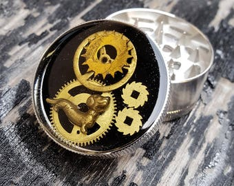 Steampunk Metal Herb Grinder - Dogs Life Spice Crusher - Metal herbs and weed grinders - Amazing gift for 4:20 girls and boys