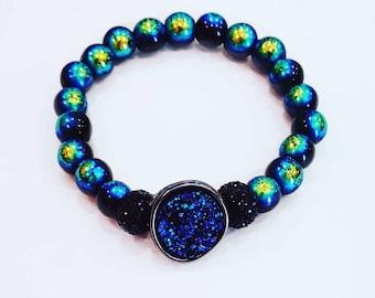 Deep blue sea druzy bracelet, Deep blue druzy bracelet, mermaid druzy bracelet, druzy bracelet, Blue druzy bracelet, Occult druzy bracelet
