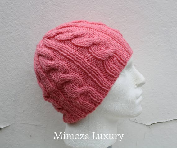 Peach Men's Beanie hat, Hand Knitted Hat in peach beanie hat, knitted cap, knitted men's, women's beanie hat, winter beanie, peach ski hat