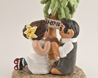 Beach Bride and Groom Wedding Cake Topper - Palm Tree Destination Wedding