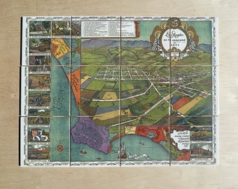 Antique 1871 LA Map -  Kitchen Backsplash Tile Mural