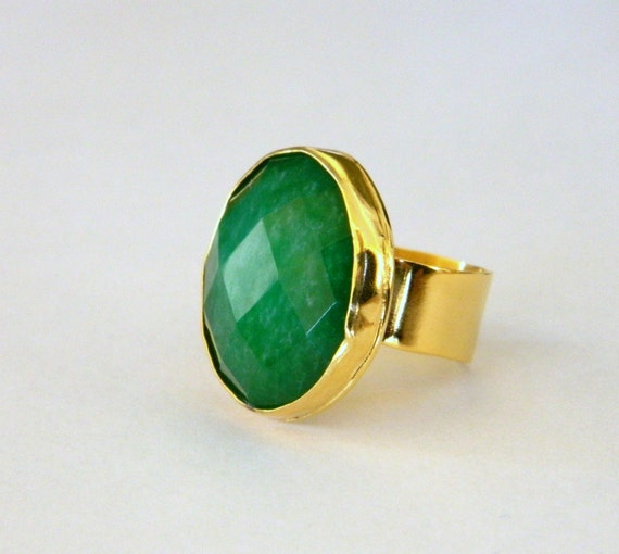 emerald ring rings listing il au gold green cocktail stone