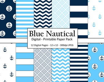 Printable Navy Scrapbooking Paper / Nautical Digital Paper / Digital Paper Commercial Use / Anchor Digital Paper / Coastal Digital Paper