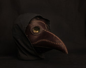 Plague Doctor Leather Brown Old Scarred Bird Mask , Medieval Bird Mask, Steampunk Masquerade Halloween Mask