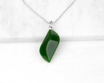 Leaf Green Necklace, Nephrite Jade, Jade Green Jewelry, Good Luck Necklace, Long Boho Necklace, Green Jade Necklace, Green Jade Jewelry