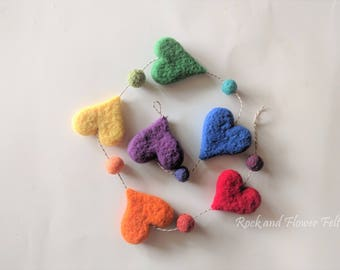Needle Felted Hanging Decor or Garland, Free Form Rainbow Hearts
