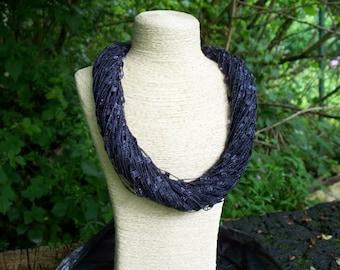 Yarn Strand Necklace Deep Aubergine