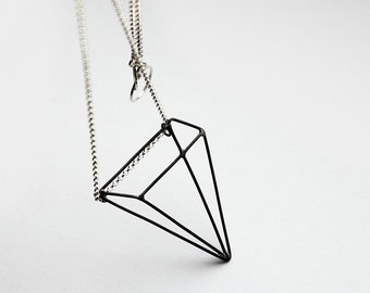 Pyramid Illusion - silver necklace with oxidized pendant - sterling silver necklace with oxidized silver pyramid pendant