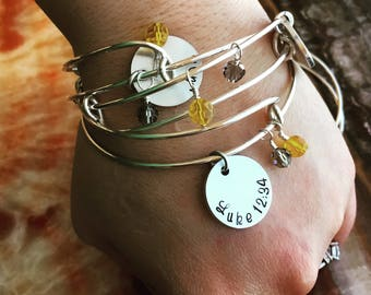 Name Pearl Adjustable Expandable Bangle Bracelet - Four Different Metals To Choose - 1 Size Fits Most - Personalized Charm Bangle