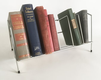 Vintage Metal Wire Tabletop Bookshelf, Book Rack, Record Rack, Countertop Bookshelf, Cookbook Storage