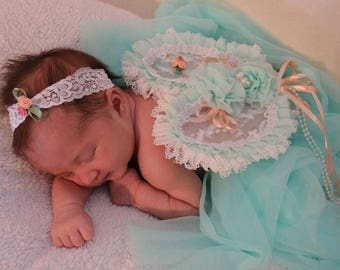 Baby Headband and Wings in Mint Green, Peach, White, Fairy Wings, Photo Prop, Angel Wings, Vintage Wings, Baby Photography, Baby Girl