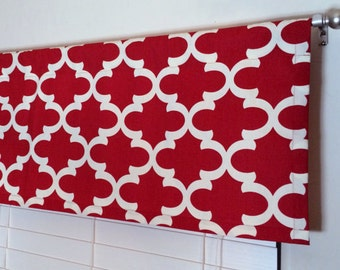 SALE! -  Red Valance - Window Valance - 50 x 16 Valance - Kitchen Valance - Valance - Window Treatment - Red Valance - Red Window Topper