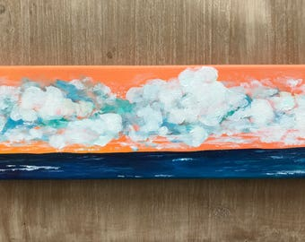 Thursday's Clouds | acrylic seascape with teal waters and orange skies