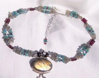 Labradorite, Garnet and Apatite Necklace