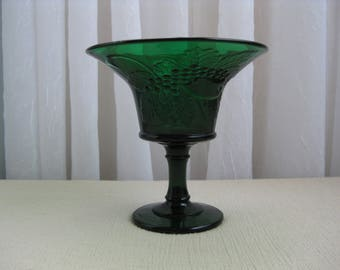 Vintage Mid Century Strawberry and Currant Forest Green Glass Compote Pedestal Dish LG Wright
