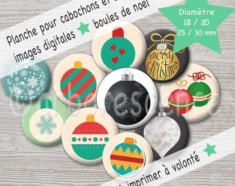 Christmas ornaments - Picture digital diameter 18 / 20 / 25 / 30 mm