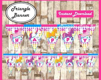 Unicorn Banner, printable Rainbow party Banner, Unicorns triangle Banner