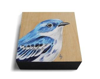 Cerulean Warbler painting - blue bird art - blue songbird - realistic wildlife art - natural wood bird painting - birdwatching gift