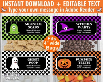 INSTANT DOWNLOAD / edit yourself now / Printable / Treat Bag toppers / Favor Tags / Birthday Party / Halloween / Fall / tag / TBH4