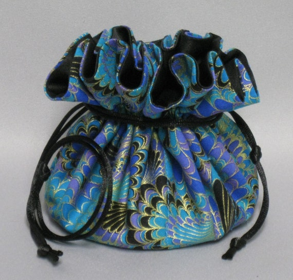 Jewelry Drawstring Travel Tote---Beautiful Abstract Design Organizer Pouch-----Eight Pockets---Regular Size